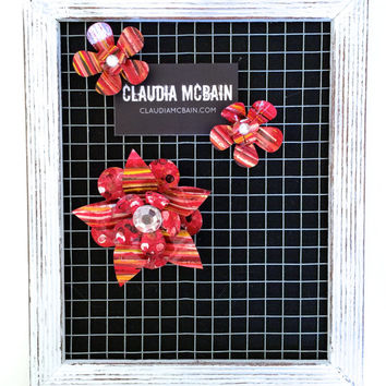 Eclectic Red Flower Magnets and Bulletin Board Wall Art