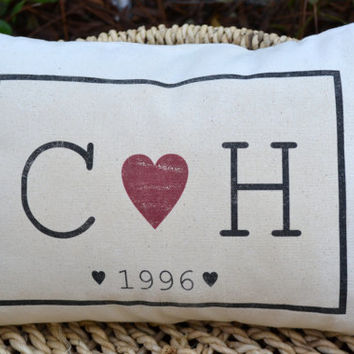 2nd Anniversary gift, Personalized gift pillow, wedding present, ruby anniversary, valentine gift, monogram pillow, wedding, Cotton anniv.