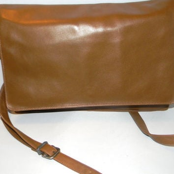Vintage Enny Nappa leather Handbag, in a rich medium caramel brown crossbody, convertible, clutch