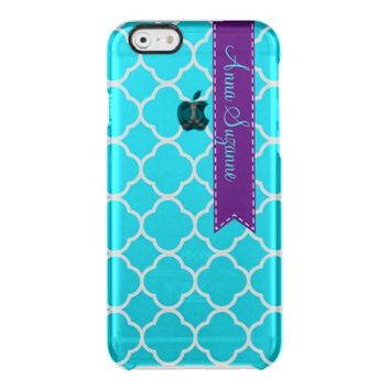 Teal Moroccan Quatrefoil Monogram iPhone 6 Case Uncommon Clearly™ Deflector iPhone 6 Case