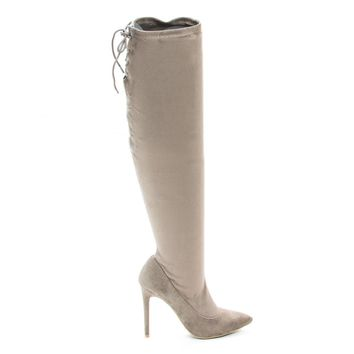 Riseup65s Lt Taupe By Anne Michelle, Pull-On High Heel Over Knee Boot w Lace Tie Fastening Drawstring