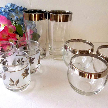 Vintage EIGHT Silver rim Mid Century drinking glasses bar ware set, Mismatch set, Dorothy Thorpe style barware, pilsner, roly poly, rocks