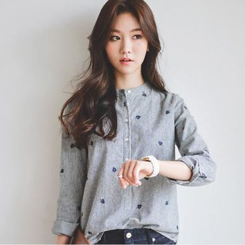 Long Sleeve Autumn Leaves Embroidery
