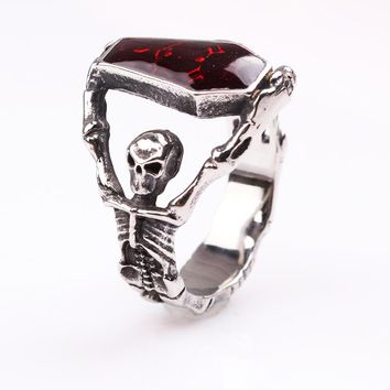 Personalized The Vampire Diaries Red Crystal Coffin Skull Ring Special Unique Rings for Party Wedding Bands Women and Men