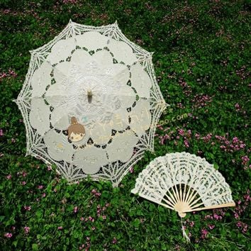 7 colors Embroidery ivory Lace Parasols wedding Battenburg Lace Parasol and Fan Sun Umbrella Set Bride Adult size Vintage cancan