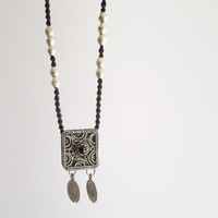 Morrocan Black and Silver Ethnic Pendant, Ecofriendly Boho Style African Hand Knotted Long Necklace