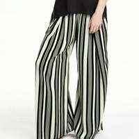Vertical Stripe Wide Leg Pants With Pockets