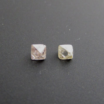 2/5 carat pair of octahedron shaped natural uncut rough diamonds, certified conflict free, for jewelry