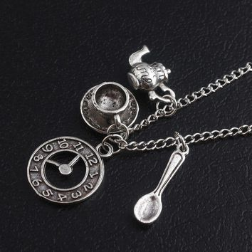 SG Newest Alice in Wonderland Antique Silver Necklaces Pendants Magic Clock Spoon Teapot Women Men Best Gift For Friend
