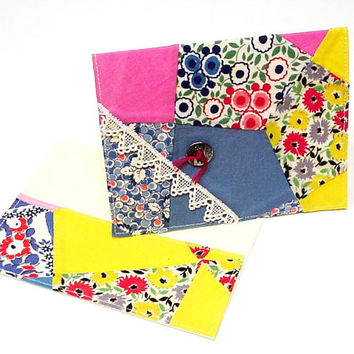 1940s Quilt Card Upcycled Vintage Patchwork Top Fabric Greeting Card Everyday Note Card Feedsack Original Stationery itsyourcountry
