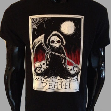 f1cae16b60407 Death Tarot Card T-Shirt Mens Womens Grim Reaper Goth Rock Punk