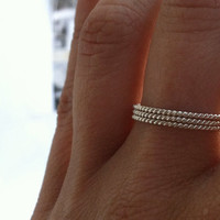 Set of three rope Sterling Silver Stacking Rings Set - 3 rings