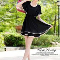 Female Temperament Lotus Leaf Sleeve Ladies Dresses Black_S/S Dresses_Wholesale - Wholesale Clothing, Wholesale Shoes, Bags, Jewelry, Wholesale Fashion Apparel & Accessories Online