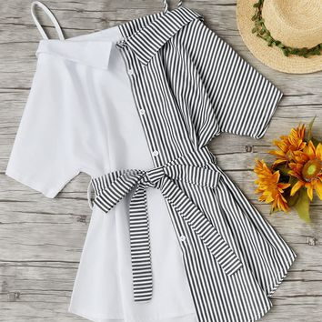 Contrast Stripe Self Tie Waist Shirt Dress