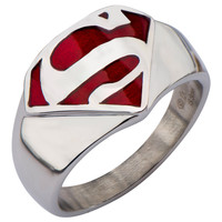 Superman Logo Stainless Steel Red Enamel Signet Mens Ring