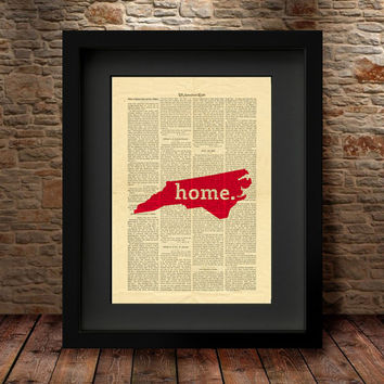 North Carolina, North Carolina State, North Carolina Map, Art Print, Dictionary Print, State Map Print, Dictionary State Art Print -27N