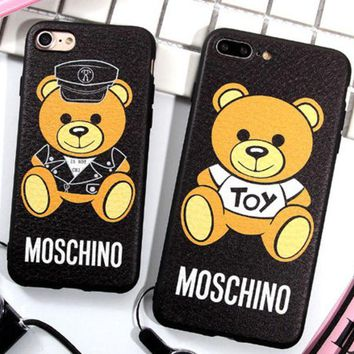 VONEYW7 moschino moschino popular logo bear iphone78p mobile phone shell 6 leather plus silicone couple hanging rope girl