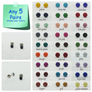 Any 5 Pairs - 4mm Matte Dot Stud Earrings - Matte Earrings - Tiny Simple Matte Ear Studs - Dot Earrings Stud - Earrings Gift Set