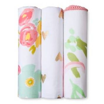 Muslin Swaddle Blankets Floral 3pk - Cloud Island™ - Pink