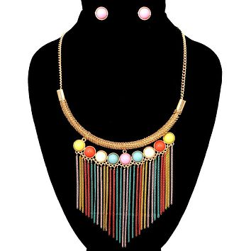 Gold and Rainbow Bead Tassel Necklace Set