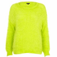 Lime eyelash knit oversized jumper - jumpers - knitwear - women