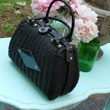 Vintage 1950's Black Wicker and lucite Handbag,Gorgeous