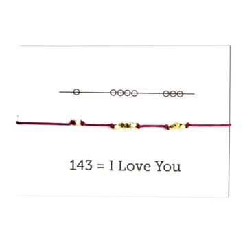 I Love You 143 Cord Bracelet - Plum