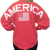 Ladies Coral America Flag Spirit Jersey