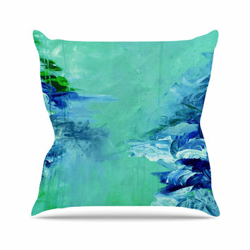 "Ebi Emporium ""Winter Dreamland 6"" Green Blue Throw Pillow"