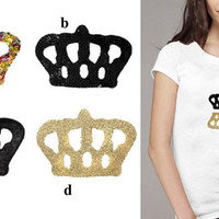2 Heat Transfer Applique Designs of Crown  for Fashion by KBazaar