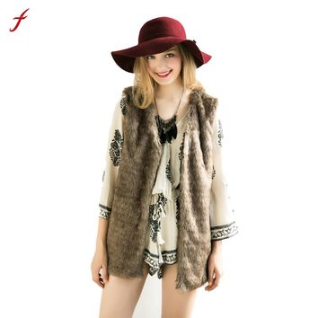 2017 Winter Women Girl Fashion  Faux fur Vest Sleeveless Long  Coat Solid Brown Coat Outerwear Plus Size 3XL