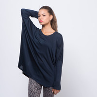 Navy shirt long sleeve womens oversized shirt dark blue dolman sleeve off the shoulder comfortable jersey shirt
