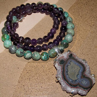 Beautiful Amethyst and Turquoise Necklace