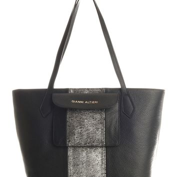 Ischia-Large Shopper Tote-Black and Handpainted Silver
