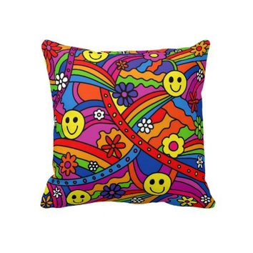 Smiley Face Rainbow and Flower Hippy Pattern Pillow from Zazzle.com
