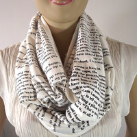 Screen Printed Infinity Scarf...T.S Eliot...The Love Song of J. Alfred Prufrock...Circle Scarf...Ivory Scarf...Large Cowl