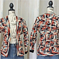 Granny square sweater / size S /  Vintage 70s /  handmade / crocheted cardigan