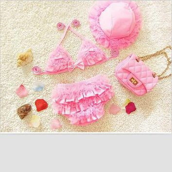 Two Pieces Baby Girls Floral Swimwear Children Baby Bikini Cute Female Kids Swimming Clothing 3 Pieces/set,Hat+Top+pants