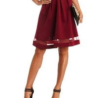 High-Waisted Gossamer-Trim Full Midi Skirt by Charlotte Russe - Wine
