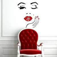 Manicure Nail Lips Wall Face Decals