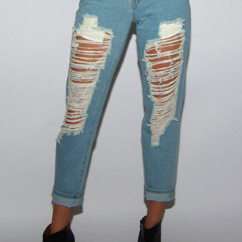 Reverse Charley Destroyed Boyfriend Jeans in Light Blue