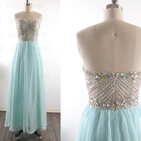 Mint Long Prom Dresses, Custom Mint Strapless Crystal and Chiffon  Long Formal Gown, Strapless Sweetheart Mint Long Prom Gown