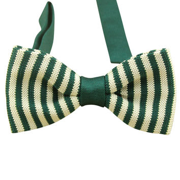 Hunter Green and White Knit Bow Tie