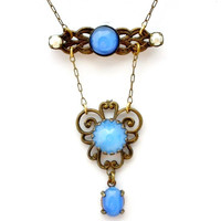 Art Deco Czech Glass Lavalier Necklace Fashion Jewelry