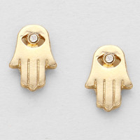 Minimal Hamsa Evil Eye Stud Earrings - Gold