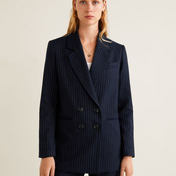 Striped structured blazer - Women | MANGO United Kingdom