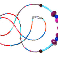 Long Seed Bead Necklace - Beaded Tribal Necklace - Layering Necklace - Color Block Necklace - Hippie Necklace