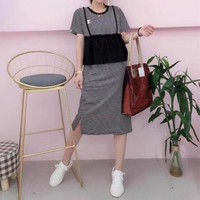 """Chanel"" Women Casual Fashion Multicolor Stitching Stripe Short Sleeve Dress"