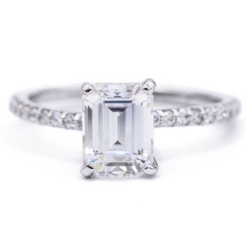 Emerald Moissanite 4 Prongs Diamond Accent Ice Solitaire Ring