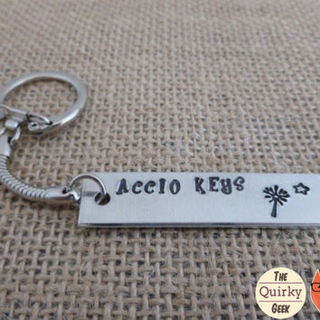 Accio Keys - Harry Potter inspired Key Chain - hand stamped